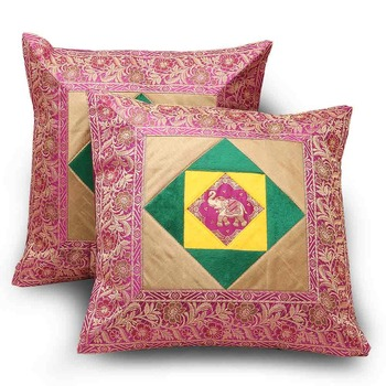Ethnic Floral Design 2 Pc Fancy Cushion Covers Set