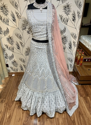 Grey embroidered georgette semi stitched lehenga