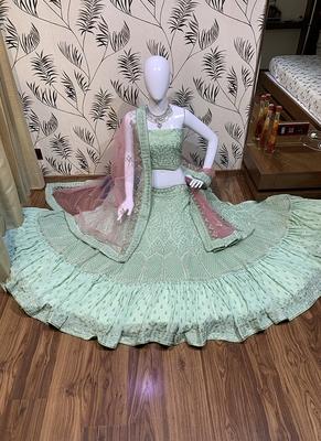 Sea-green embroidered georgette semi stitched lehenga