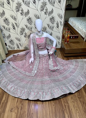 Pink Embroidered Net Semi Stitched Lehenga