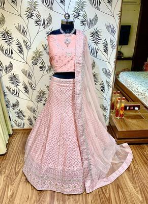 Pink embroidered silk semi stitched lehenga