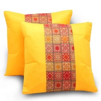 Sanganeri Designer 2 Pc. Yellow Cushion Covers Set