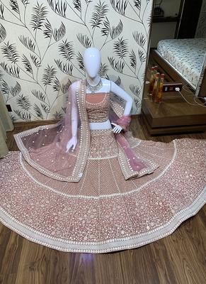 Pink embroidered georgette semi stitched lehenga