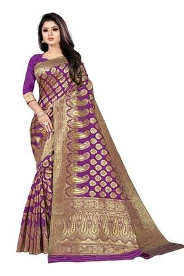 women purple woven art silk saree with blouse