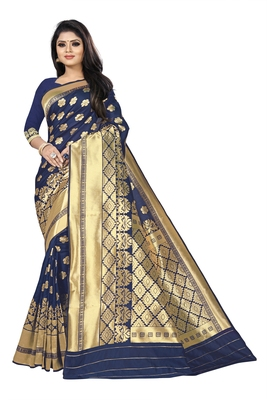women blue woven art silk saree with blouse