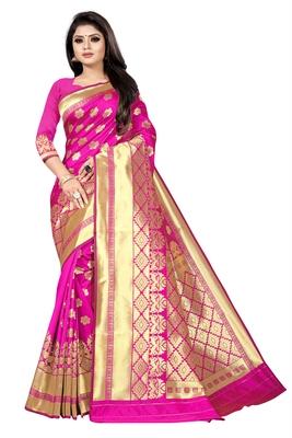 women pink woven art silk saree with blouse