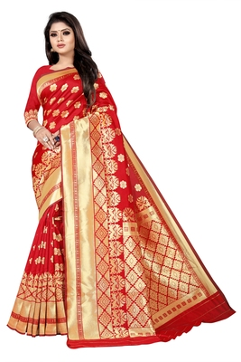 women red woven art silk saree with blouse