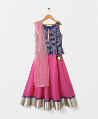 sleeveless peplum choli with contrast lehnga