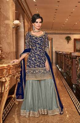 Dark-blue embroidered georgette salwar
