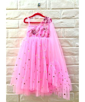 BABY PINK attached dupatta gown