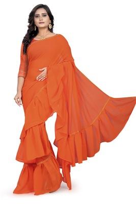 orange plain georgette saree with blouse