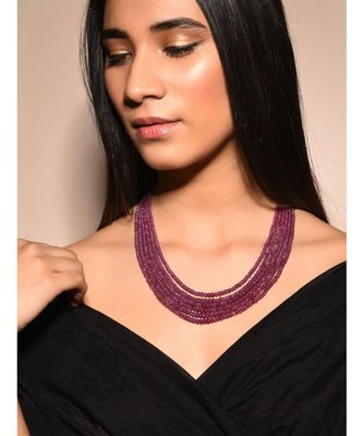 Red Gold Tone Multilayered Beaded Necklace