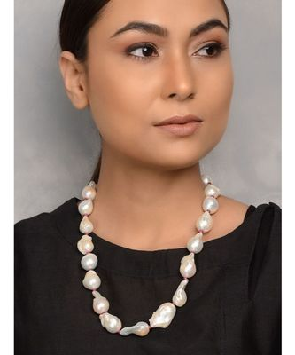 White Gold Tone with Natural Stones Necklace
