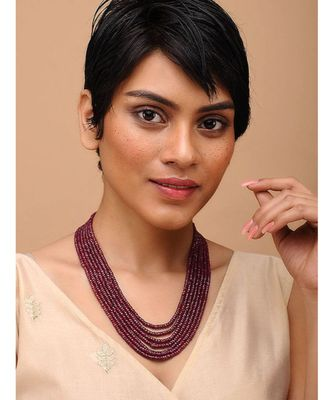 Red Gold Tone Handcrafted Multilayered Necklace