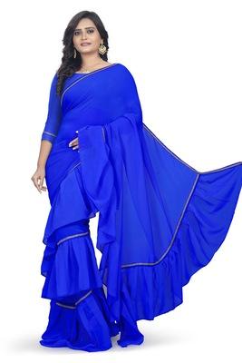 blue plain georgette saree with blouse