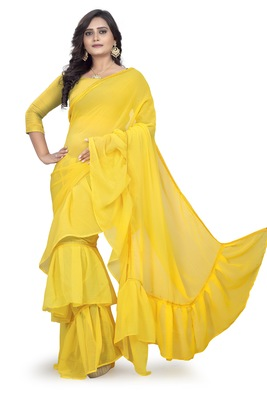 yellow plain georgette saree with blouse