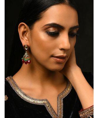 Multicoloured Gold Tone Kundan Earrings