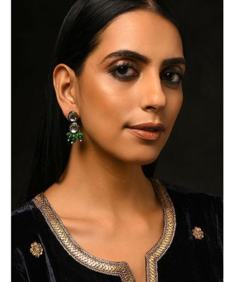 Green Gold Tone Kundan and Stone Earrings