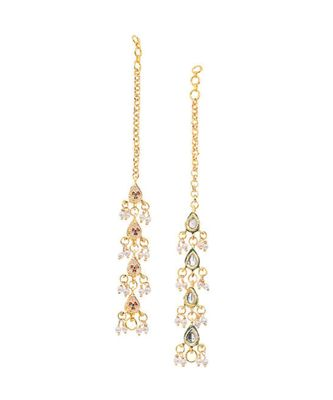 White Gold Tone Kundan Inspired Earrings