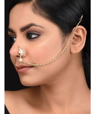 Gold plated polki pearl inspired nosepin