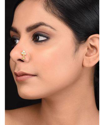 Gold plated kundan nosepin