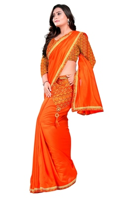 orange plain tussar silk saree with blouse