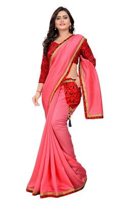 pink plain tussar silk saree with blouse