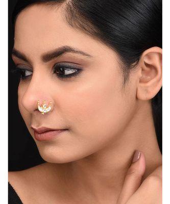 Gold plated kundan inspired nosepin