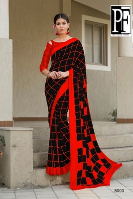 Red printed faux satin saree with blouse