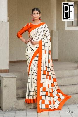 Orange printed faux satin saree with blouse
