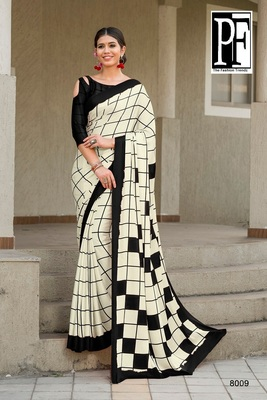 Black printed faux satin saree with blouse