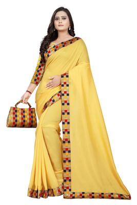 yellow plain tussar silk saree with blouse