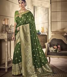 Mehendi woven banarasi silk saree with blouse