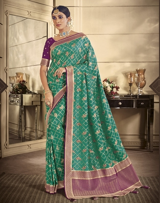 teal woven banarasi silk saree with blouse
