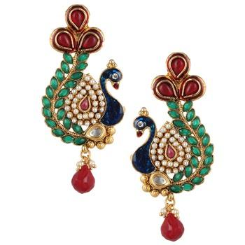 Maroon green stone peacock earring with kundan & pearl work v633mg