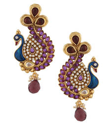 Buy Purple Stone Peacock Earring with Kundan & Pearl Work v633pu danglers-drop online