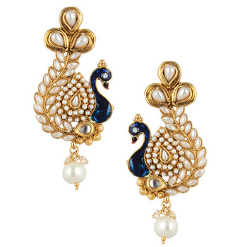 Pearl stone peacock earring with kundan & pearl work v633w