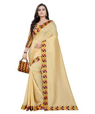 beige plain tussar silk saree with blouse