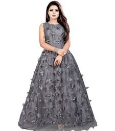 Grey Embroidery Net With Inner Full Stiched Anarkali Gown