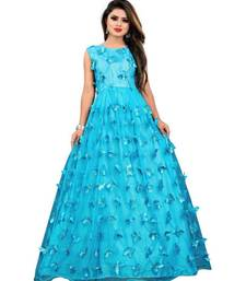 Blue Embroidery Net With Inner Full Stiched Anarkali Gown