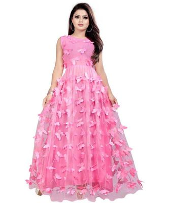 Pink Embroidery Net With Inner Full Stiched Anarkali Gown