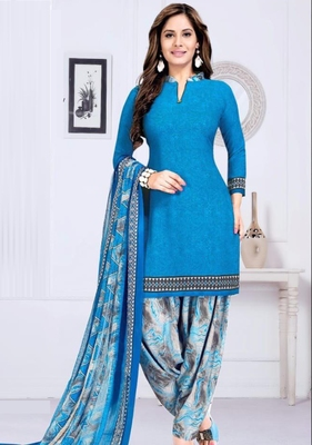 BLUE PRINTED UNSTITCHED SALWAR WITH DUPATTA