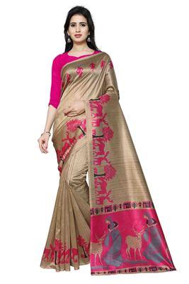 Pink Printed Art Silk Saree With Blouse