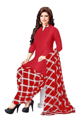 Red Printed Unstitched Salwar With Dupatta