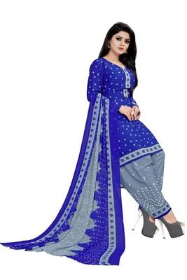Blue Printed Crepe Salwar With Dupatta Unstitched