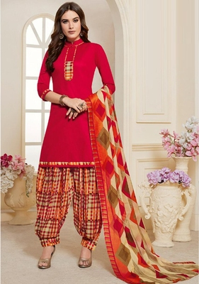 PINK PRINTED CREPE SALWAR WITH DUPATTA UNSTITCHED