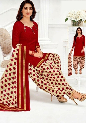 RED PRINTED CREPE SALWAR WITH DUPATTA UNSTITCHED