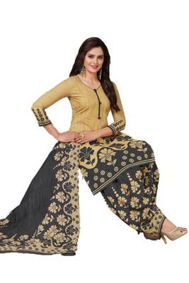 Beige Printed Crepe Salwar With Dupatta Unstitched