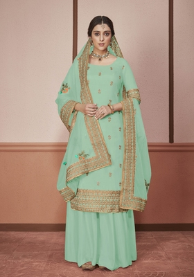 Teal-green embroidered silk salwar