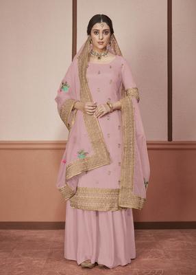 Light-onion-pink embroidered silk salwar